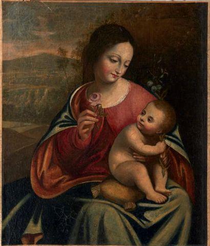 ECOLE ITALIENNE VERS 1600, SUIVEUR DE BOCCACCIO BOCCACINO Vierge à l'enfant Toile....