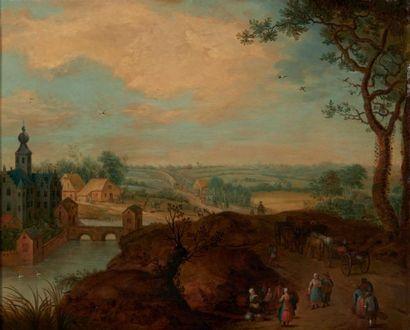 ATTRIBUÉ À JEAN II BRUEGHEL (1601 - 1678) Paysage aux voyageurs Cuivre. H_38 cm L_45...