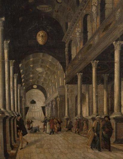 ATTRIBUÉ À BARTHOLOMEUS VAN BASSEN (1590 - 1652) Intérieur d'église avec le Christ...
