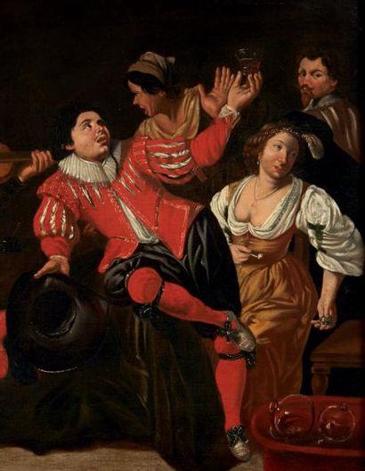 ÉCOLE HOLLANDAISE, 1658, SUIVEUR DE SIMON DE VOS Le concert Toile. Inscription en...