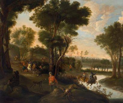JAN HACKAERT (1628-1685/90) Compagnie de chasseurs dans un paysage boisé Toile. Signée...