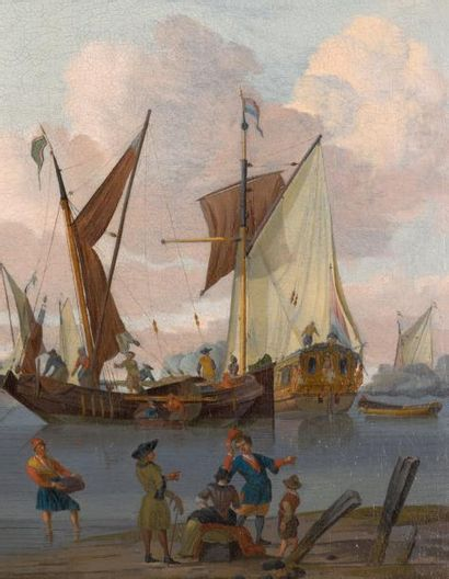 JOHANNIS DE BLAAUW (1712-1776) Vaisseaux hollandais près de la côte Toile. H_55 cm...