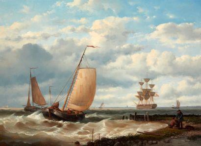 A KARSSEN (ECOLE HOLLANDAISE DE LA FIN DU XIXE SIÈCLE) Bord de mer Panneau, une planche,...