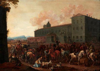 SIMON JOHANNES VAN DOUW (ANVERS 1630 - VERS 1677) Réunion villageoise devant un palais...