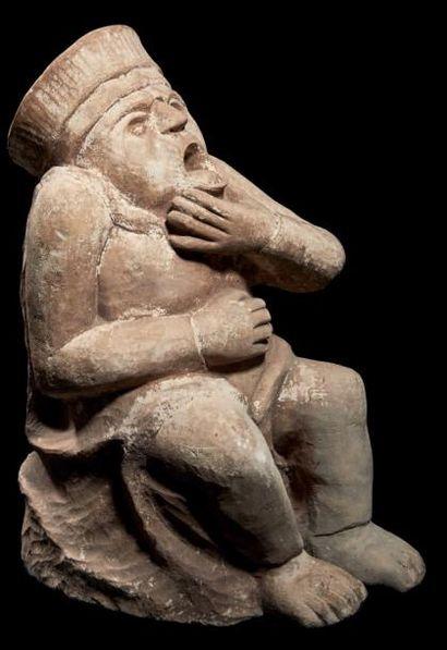 Gargouille en pierre calcaire sculptée représentant...