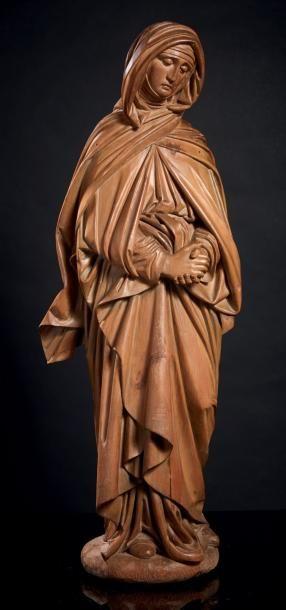 Vierge de Calvaire en tilleul sculpté en...