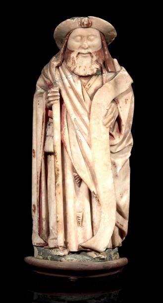 Saint Jacques de Compostelle en albâtre sculpté...