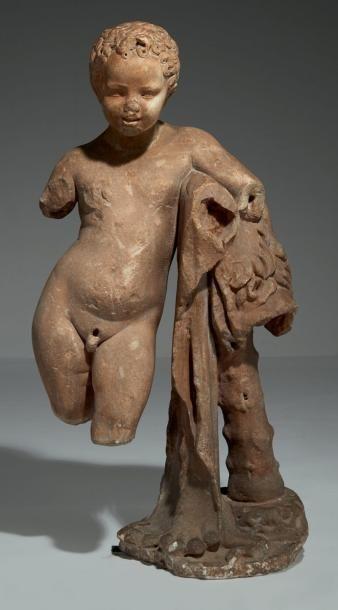 Jeune garçon représenté en Hercule en marbre...