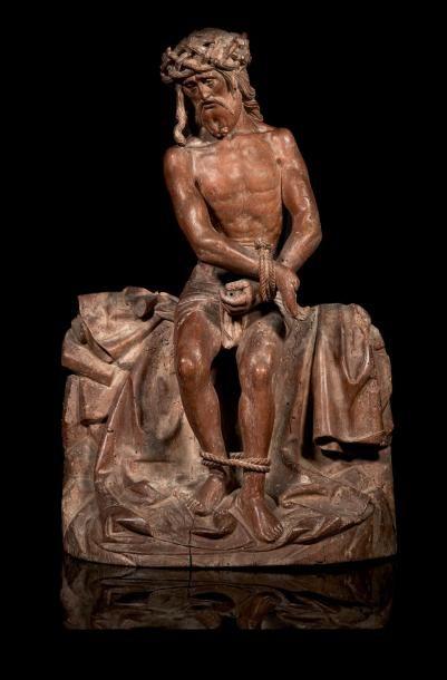 Christ aux liens en noyer sculpté, dos ébauché....