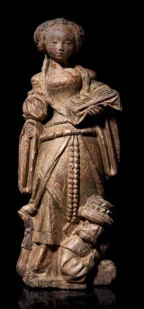Sainte Catherine d'Alexandrie en chêne sculpté...