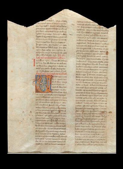 Grande feuille manuscrite sur vélin avec...