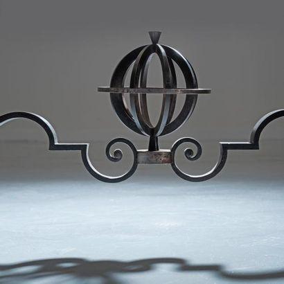 GILBERT POILLERAT (1902-1988) France Table de milieu «Astrolabes» à décor d'entrelacs...