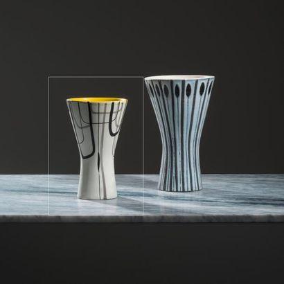 ROGER CAPRON (1920-2006) France Vase «Diabolo» à décor de lignes Grès émaillé à glaçure...