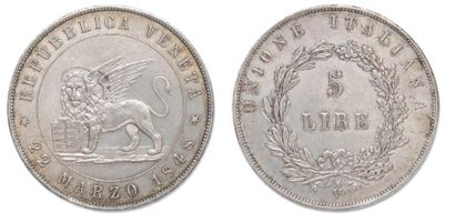 5 Lires 1848 V. C.186a Superbe.