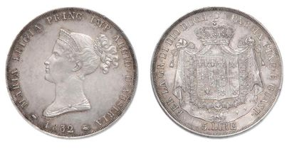 PARME Marie Louise (1815-1847). 5 Lires 1832. C.30 Superbe.