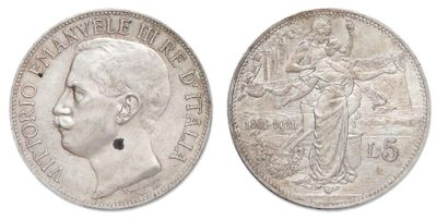 Victor Emmanuel III (1900-1946). 5 Lires 1911. R. KM.53. Petite tache à l'avers...
