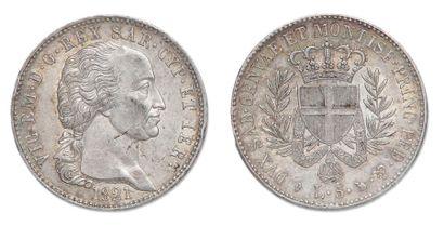 Victor Emmanuel (1802-1821). 5 Lires 1821....