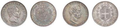 Charles Felix (1821-1831). 5 Lires: 2 exemplaires:...
