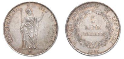 LOMBARDIE Gouvernement provisoire: 5 Lires 1848. C.22.3 Presque superbe.