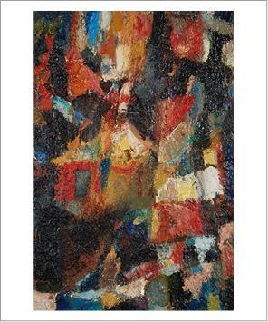 Eugène LEROY (1910-2000) L'atelier, 1952 Huile sur toile. Signée et datée en bas...
