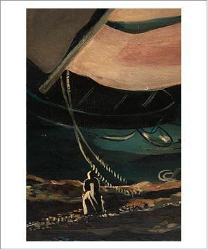 Alexandra Exter (1884-1949) Voilier dans la ville, circa 1935-1940 Huile sur toile....