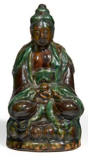 STATUETTE de bouddha en grès émaillé brun...