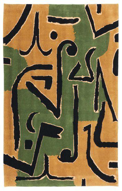 PAUL KLEE (1879-1940) Brins d'herbe Tapis en laine. Signé au dos. Marie Cuttoli et...