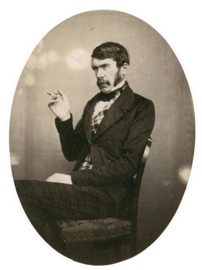 Cercle de Gustave LE GRAY Dandy à la cigarette, vers 1855 Épreuve sur papier salé...