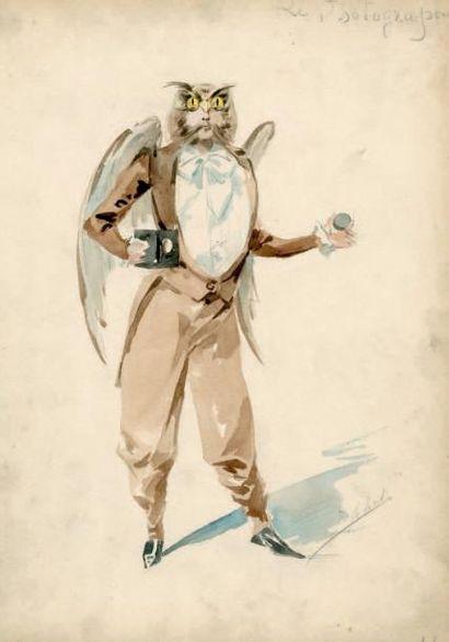 «Le photographe» Aquarelle, homme déguisé...