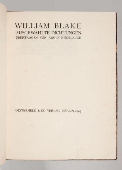 [WIENER WERKSTÄTTE]. BLAKE (William). Ausgewählte Dichtungen. Übertragen von Adolf...