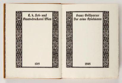[WIENER WERKSTÄTTE]. GRILLPARZER (Franz). Der arme Spielmann. Wien, K. k. Hof- und...