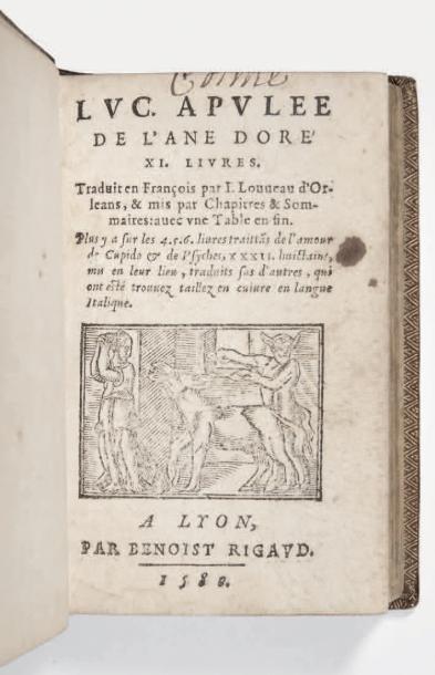 APULÉE De l'ane doré XI. Livres. Traduit en François par J. Louveau d'Orléans, &...