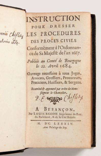 [JOBELOT (Jean-Ferdinand)] Instruction pour dresser les procedures des procès civils...