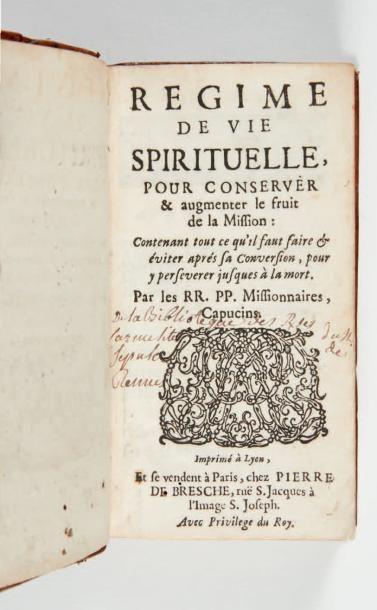 Regime de vie spirituelle, pour conserver & augmenter le fruit de la Mission: contenant...
