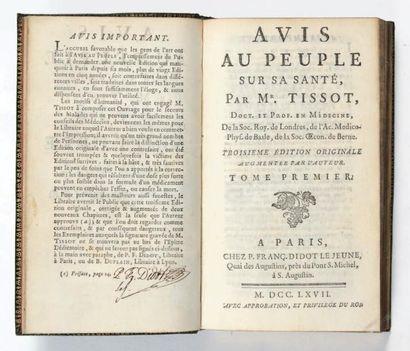 TISSOT (Auguste) Avis au peuple sur sa santé. Paris, P. Fr. Didot le jeune, 1767-1763....