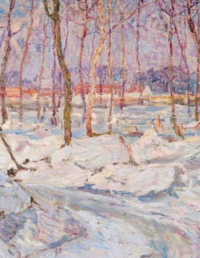 MODESTE HUYS (1874-1932) Neige et glace, Waregem, 1914 Huile sur toile. Signée en...