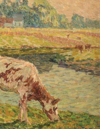 Emile Claus (1849-1924) Vache au bord de la Lys Huile sur toile marouflée sur panneau....