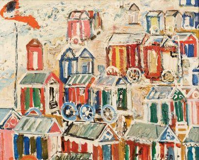 Henri-Victor Wolvens (1896-1977) Cabines de plage, 1958 Huile sur panneau. Signée...