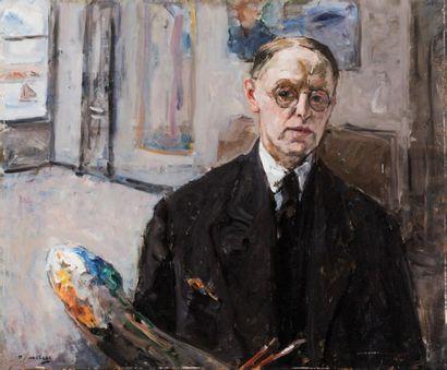 RICHARD BASELEER (1867-1951) Autoportrait Huile sur panneau. Signée en bas à gauche....