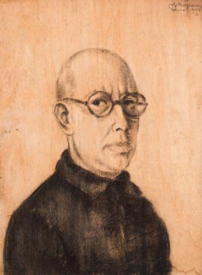 Jef De Pauw (1894-1947) Autoportrait, Etterbeek, 1942 Fusain sur panneau. Signé,...