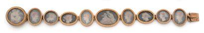 Bracelet en or 18K (750), articulé de maillons ovales et circulaires festonnés,...