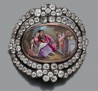 Broche-pendentif sentimental en argent, orné d'une miniature polychrome représentant...