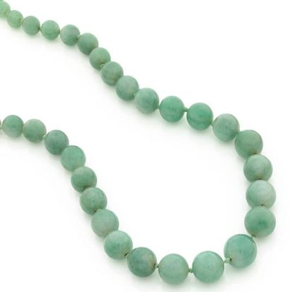Collier de billes de jade en chute, fermoir...