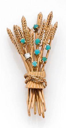 Broche épi de blé en or 18K (750), piquée...