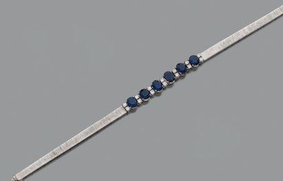 Bracelet articulé en or gris 18K (750) guilloché,...