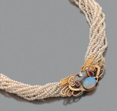 Collier multi-rangs de perles d'eau douce,...
