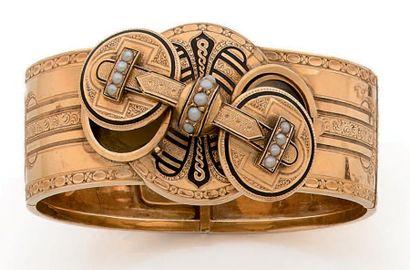 Bracelet sentimental ouvrant en or 18K (750),...
