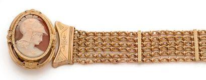 Bracelet en or 18K (750), 6 chaînettes de...
