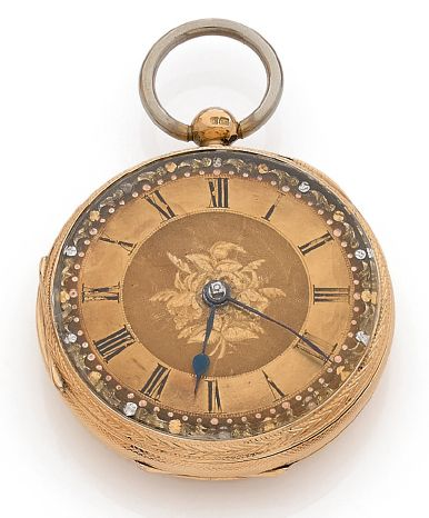Montre de poche en or jaune 18k (750), cadran...