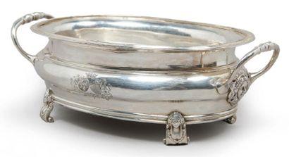 BASSIN D'HUILIER en argent de forme ovale...